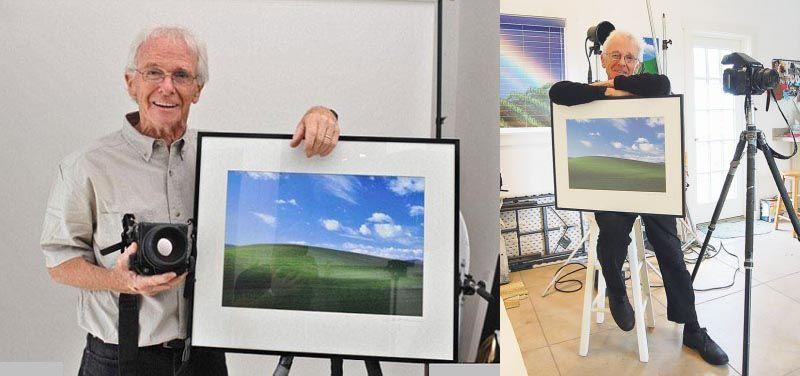 charles-orear-photographer-beside-framed-print-of-famous-windows-xp-photograph-bliss-desktop-wallpaper